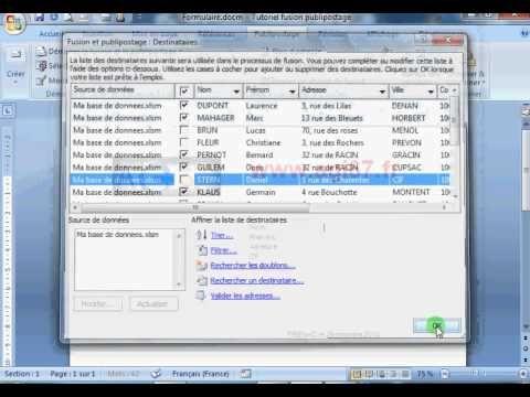 Fusion publipostage Word Excel (tutoriel) - YouTube