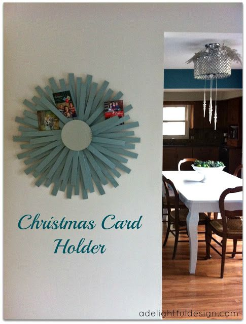 Christmas card holder | use what you have.  A Delightful Design