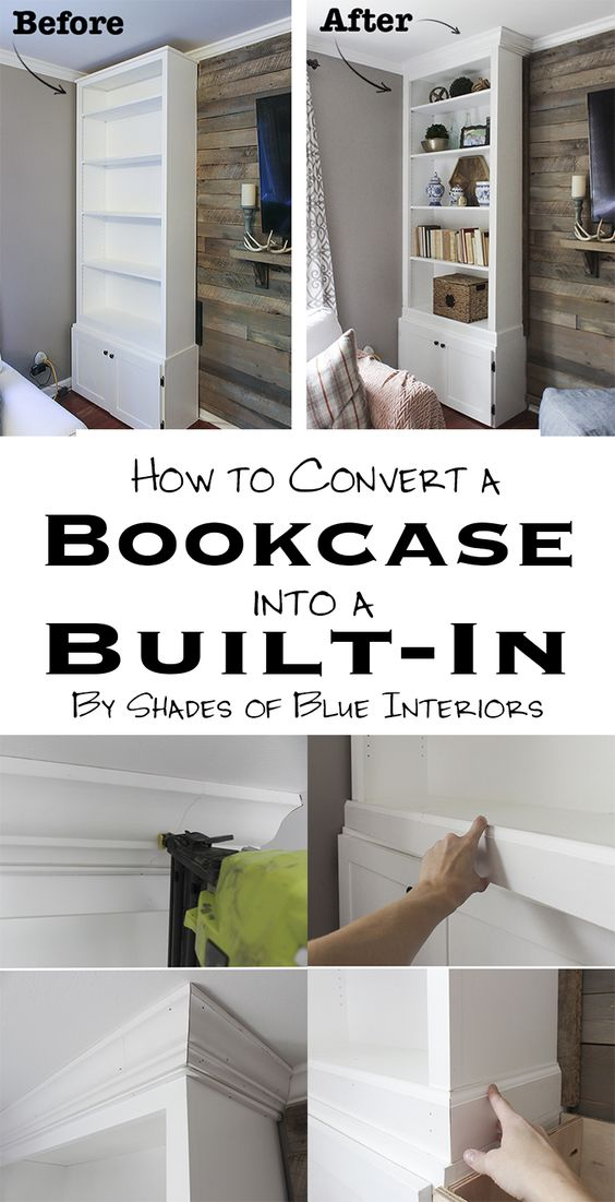 Link to tutorial on how to turn a bookcase into a built-in. Includes pics of Christmas Living room with a planked wall and pair of built-in bookcases.: