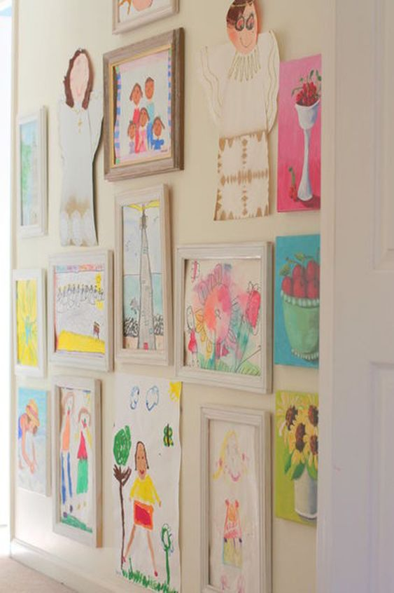 The Art of Displaying Kid's Creativity- I can hardly wait until I have a devoted wall for this kind of stuff :D