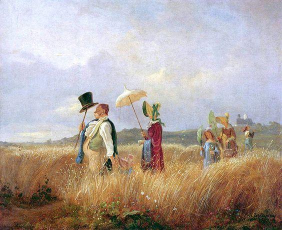 Der Sonntagsspaziergang by Carl Spitzweg (German 1808-1885):