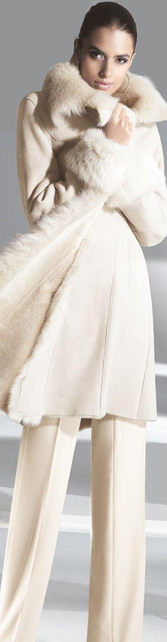 Madeleine ~ sexy, creamy winter white lambskin coat. Embrace me!
