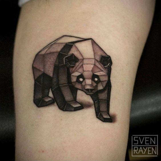 Cool geometric panda tattoo by Sven Rayen!