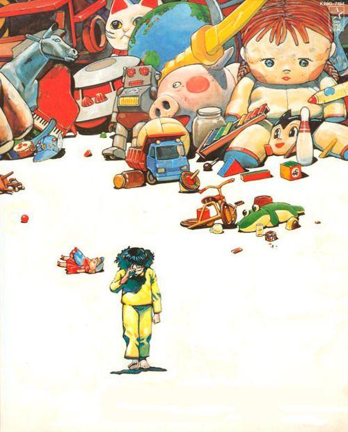 大友克洋によるおもちゃの山と泣く少女のイラスト)