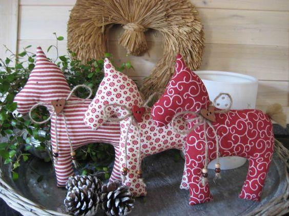 Deko-Objekte - 3 süße Dala Pferdchen, auch als Baumschmuck - ein Designerstück von Stoffzauberwelt bei DaWanda