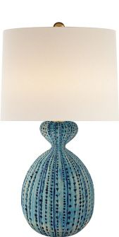 Garuth Glazed CeramicGourd Table Lamp Available in Bone Crackle, Blue Lagoon, Black and Cobalt, Marbled Sienna (Shown in Detail Shots) and Pebbled Aqua