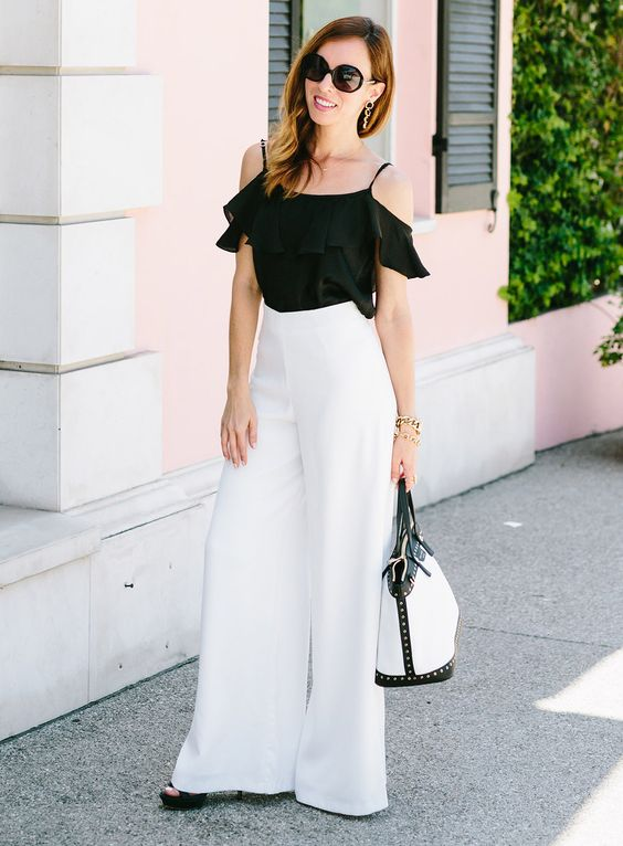 Rachel Zoe's White Wide Leg Pants | Celebrity Fashion – Sydne Style