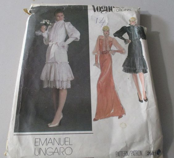 Vogue Paris Original  Sewing Pattern #2681 Emanuel Ungaro 1980's  Misses' Dress And Tie  Size 14 Uncut Damaged Envelope by GwensHaberdashery on Etsy