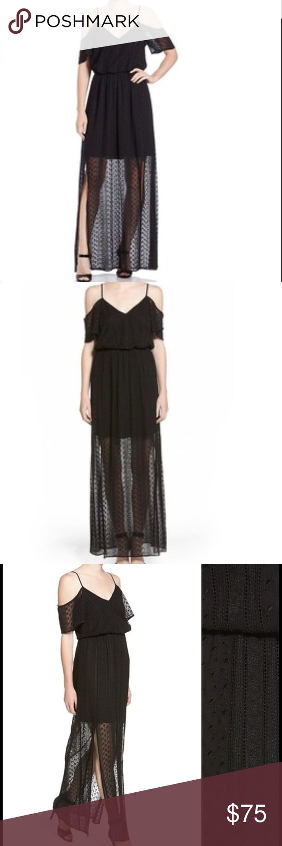 Ella Moss Lace Maxi Dress An overlay of lacy eyelets and openwork crochet creates a sheer hem on a pleated maxi dress framed with flirty flutter sleeves. Gently gathered waist and adjustable straps. Worn a couple times, in great condition Ella Moss Dresses Maxi