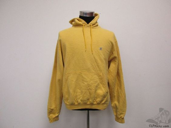 Vtg 90s Champion BLANK Hoody Sweatshirt sz M Medium Yellow Hoodie ...
