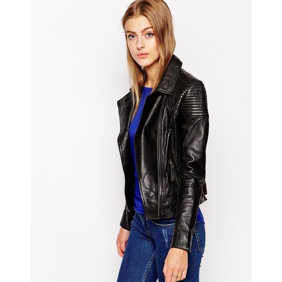 Cropped denim jacket Motorcycle jackets and Leather jackets on