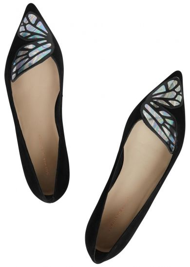 Sophia Webster black suede flats Iridescent butterfly appliqué, pointed toe Slip on  Come with a dust bag