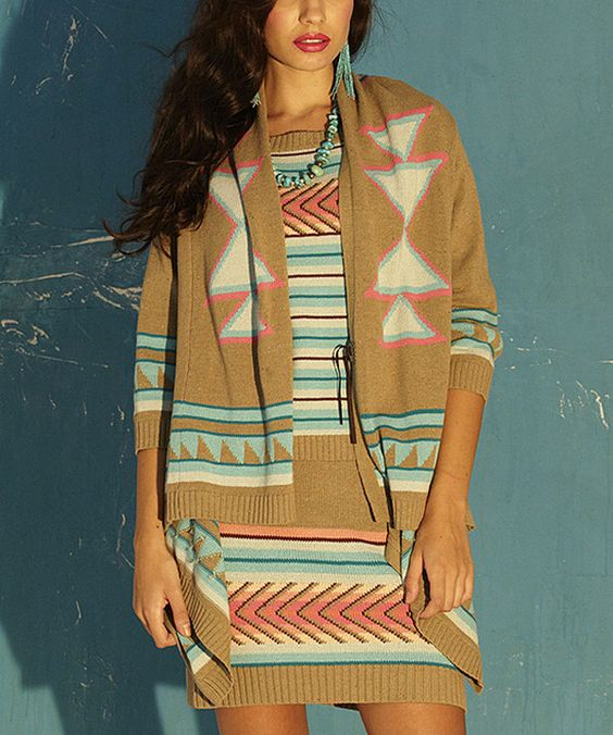 This Roja Beige & Pink Southwestern Open Cardigan by Roja is perfect! #zulilyfinds