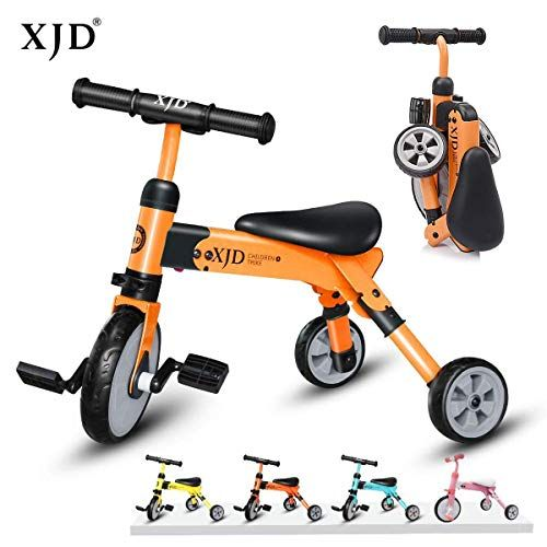 Xjd 2 In 1 Kids Tricycle For 2 Years Old Boys Girls Toddler Trike 3 Wheels Kids Balance Bike Orange In 2020 With Images Tricycle Balance Bike Bike