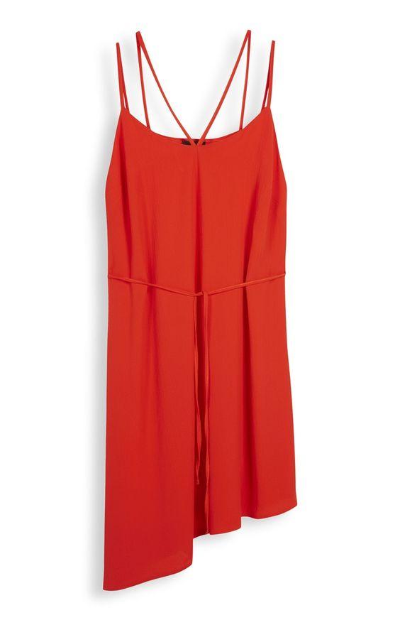 Red Strappy Asymmetric Dress