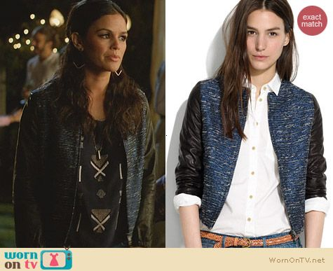 Zoe's blue bomber jacket with leather sleeves on Hart of Dixie. Outfit Details: http://wornontv.net/26326 #HartofDixie #fashion