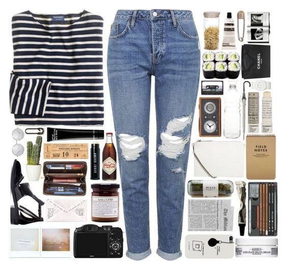 """""""jeans"""" by andharafatikhandi ❤ liked on Polyvore featuring J.Crew, Topshop, CO, KEEP ME, Zara, Louis Vuitton, Bobbi Brown Cosmetics, MANGO, Kiehl's and Aesop"""