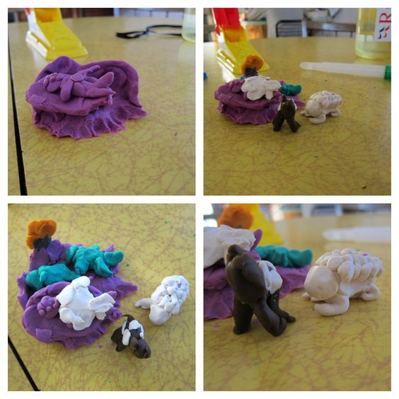 Nativity with playdoh. remember to buy real clay next year.