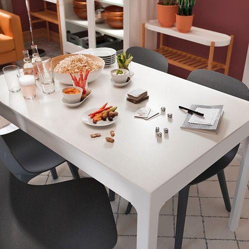 Ikea Eetkamer Stoelhoezen.Ekedalen Uitschuifbare Tafel Wit Ikea Tafelpoten En Tafel Ikea