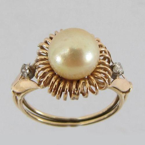 4007 anel antigo anos 50 feminino maravilhoso de ouro 18k y