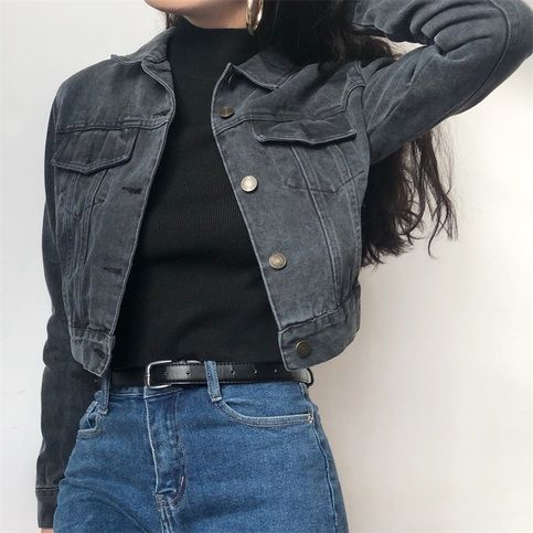 Vintage Slim Short Gray Black Denim Jacket From Fe Clothing Fashion Fashion Inspo Outfits Aesthetic Clothes
