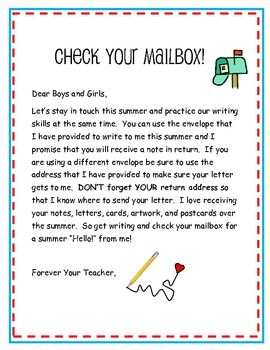 I like to keep my kiddos writing over the summer and this is one easy way to do it!  I pop this letter,and an envelope with a stamp and my address ...