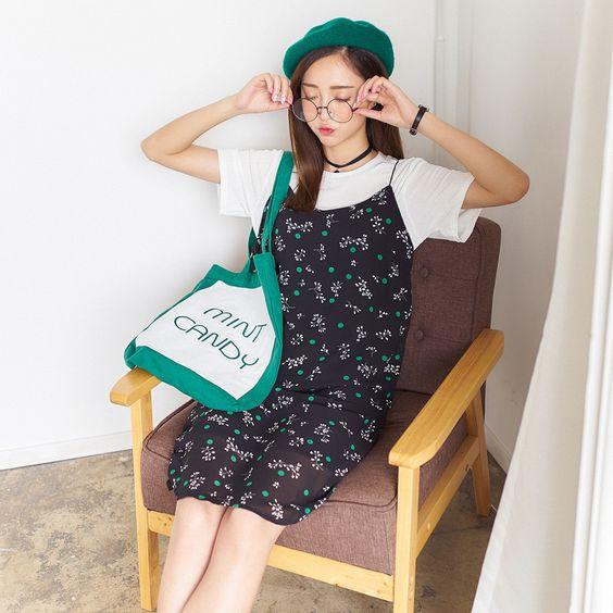 Korean fashion strapless chiffon Floral Dress: