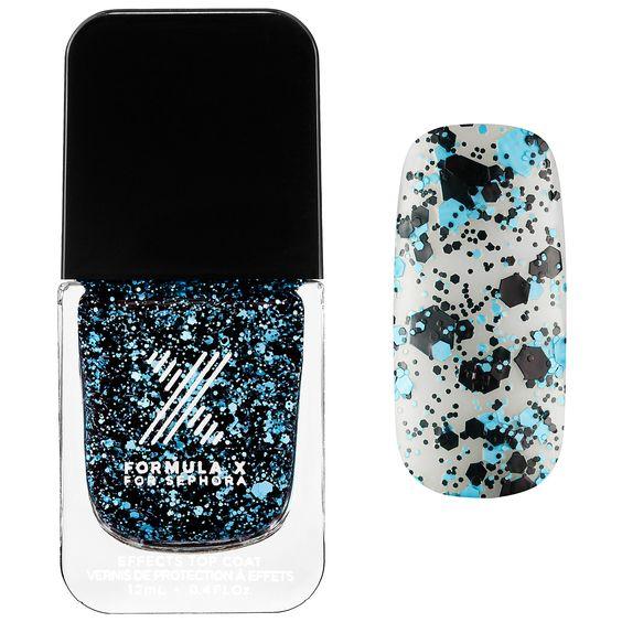 Matte Confetti in Turbulent - turquoise and black confetti -  Xplosives Top Coats - Formula X For Sephora | Sephora