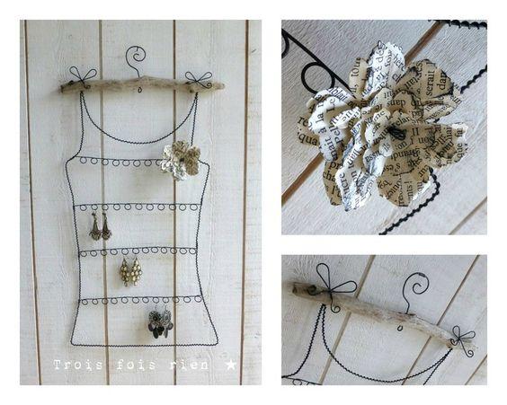 Porte boucles d 39 oreilles fil de fer et fleur de papier n for Porte boucles d oreille