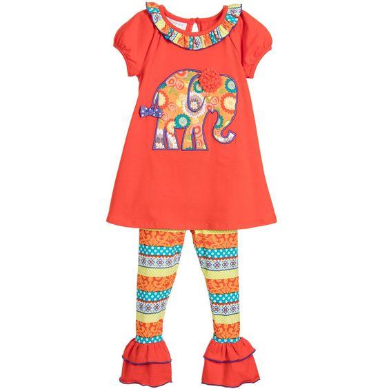 BONNIE JEAN Girls Orange Elephant Tunic Top & Leggings Set