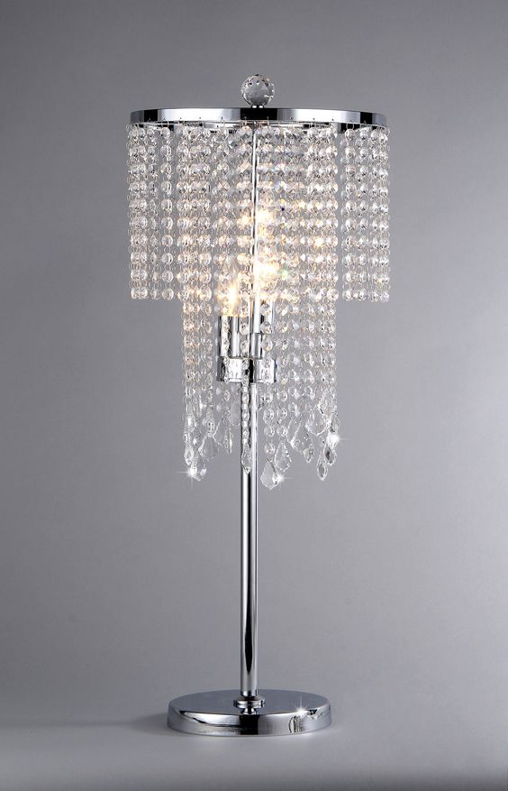 "32"" Contemporary Silver Crystal Bead Chandelier-lookTable Lamp Modern Decor"
