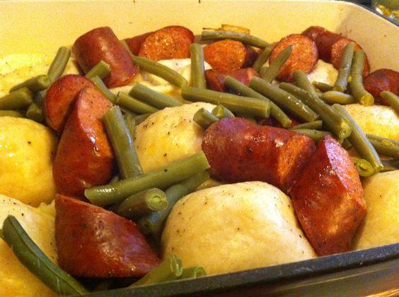 ... beans sausages polish powder onions beans garlic fresh butter green