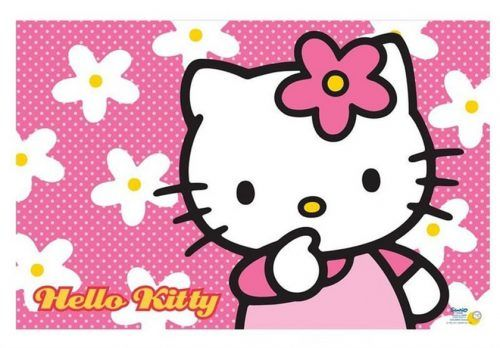 Hello Kitty Face Wallpaper Desktop With Floral Pink Background