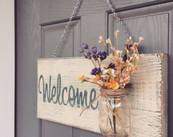Rustic Outdoor Welcome Sign in blue/white Outdoor por RedRoanSigns