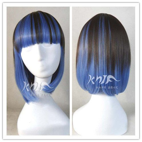 15 inches Black mix Blue gradient ramp japanese harajuku lolita short hair straight hair anime wigs hair extension  anime Cosplay wigs 38 cm on Etsy, $21.76 AUD