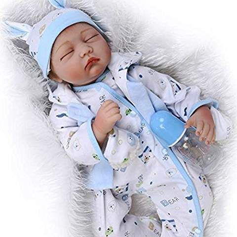 Npk 22 Sleeping Reborn Baby Doll Soft Silicone Vinyl 55cm Lovely Lifelike Cute Baby Boy Girl Toy Cute Baby Boy Silicone Reborn Babies Baby Dolls