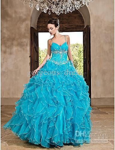 Exquisite custom made!spaghetti strap applique beads ruched blue quinceanera dresses prom dresses
