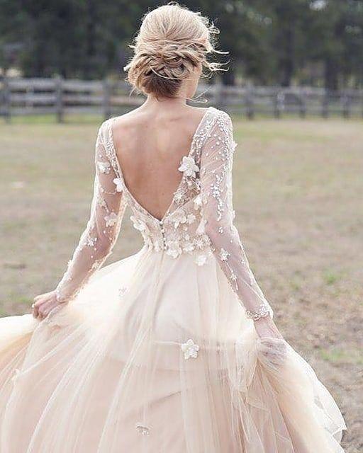 Low Back Wedding Dresses Blush Wedding Dress Princess Wedding Dress Long Sleeve Wedding Dress Lace Boho Princess Wedding Dress Lace Princess Wedding Dresses