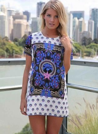 Short Sleeve Mini Shift Dress with Royal Psychedelic Print- Dress ...