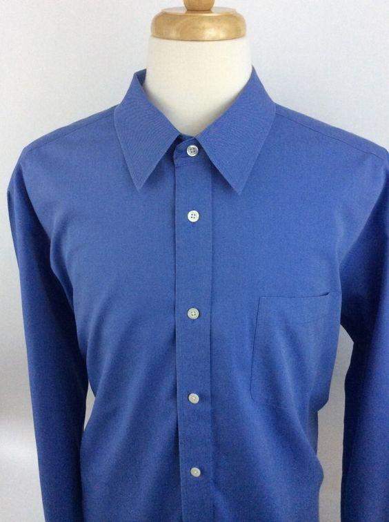 Eddie Bauer Mens 2XL Blue Relaxed Fit Wrinkle Resistant Button 100% Cotton J11 #EddieBauer