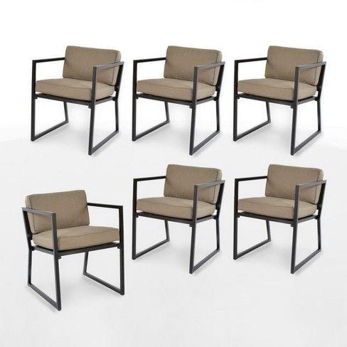 modern 6pk patio dining chair tan