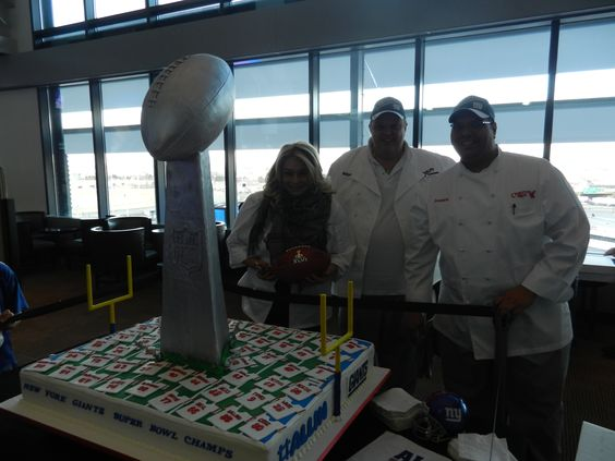 "Mary, Mauro & Frankie delivered a special ""Victory Cake"" for the New York Giants at their rally on 2/7/12."