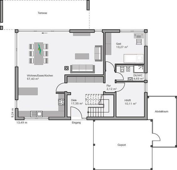 Küche und Wohnzimmer vertauscht Garderobe an der Wand zur Küche