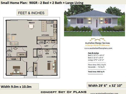 90gr Free 2 Bed House Plan Australia House Plans Australia House Plans For Sale Small House Design