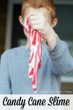 Candy cane slime recipe. This easy slime recipe is perfect for the holidays at home or in your preschool, pre-k, or kindergarten classroom. Kids love slime!