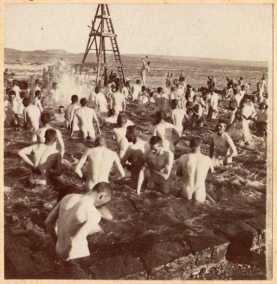 Lt. James Cooper Mason DSO - RCR - Boer War 1900 - 7 Belmont Photos. Bathing at the Thomas Farm
