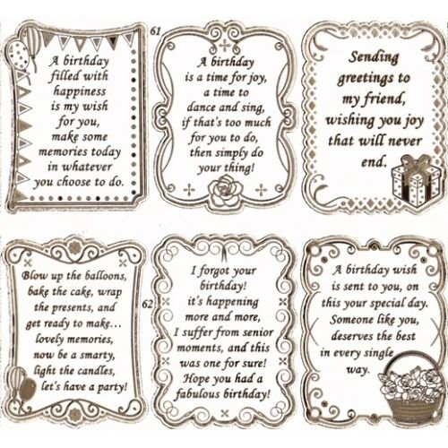 Double Embossed Textsheet with Birthday Verses in Gold – Dad Birthday Card Verses