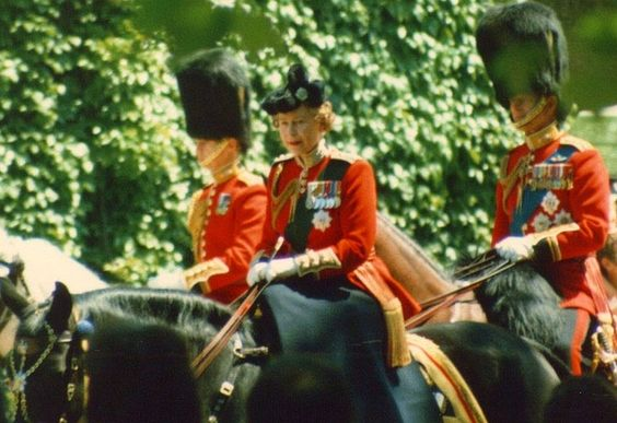 Queen Elizabeth as she's Trooping The Color