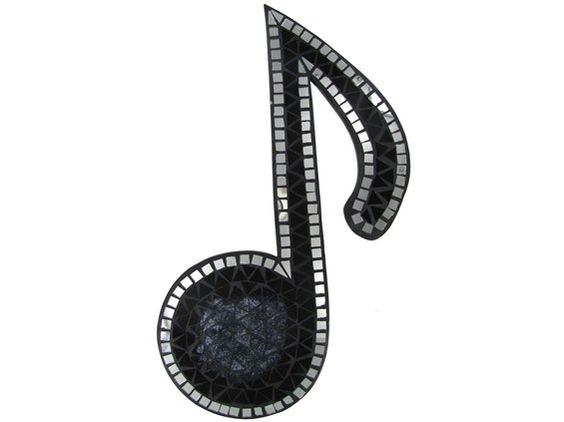"""For the dining room! 18"""" Black & Silver Mosaic Single Music Note"""