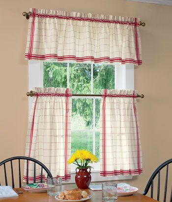 Windowpane Plaid Tier Curtains- want for my kitchen. I really need ...